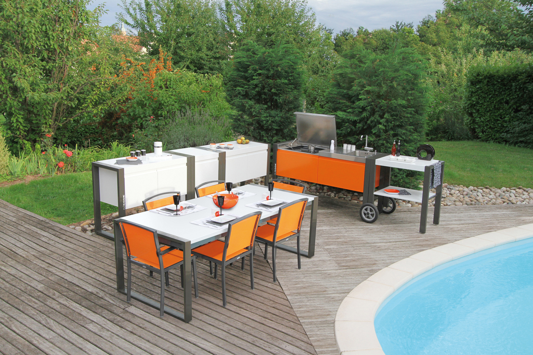 une cuisine de plein air sur la terrasse lorraine magazine. Black Bedroom Furniture Sets. Home Design Ideas