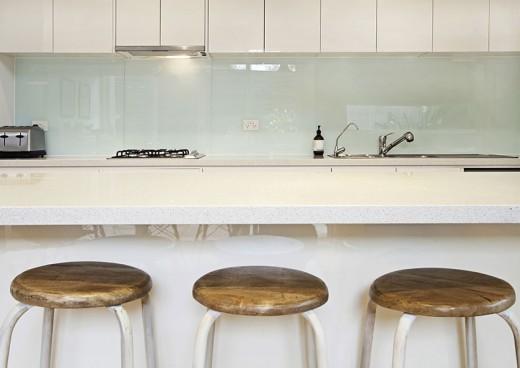 Kitchen splashback bench and stools