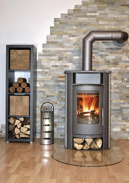 wood fired stove burning
